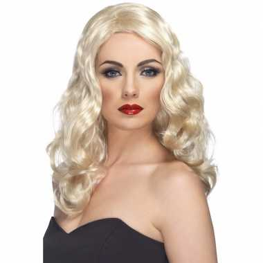 Lange blonde damespruik krullen carnaval