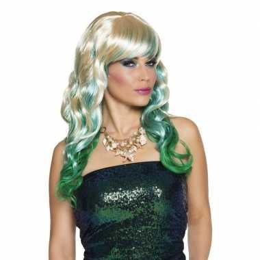 Lange blonde damespruiken blauw groen carnaval