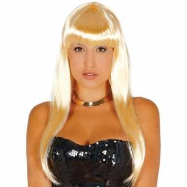 Lange blonde pruik dames carnaval