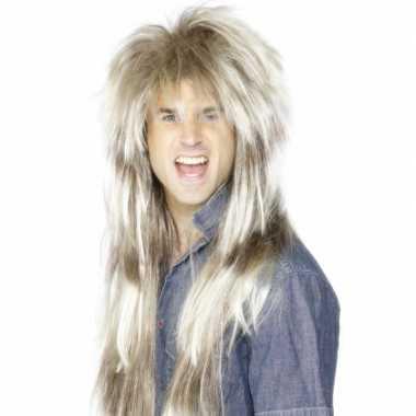 Lange blonde rocker pruik carnaval