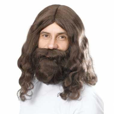 Lange bruine pruik baard carnaval