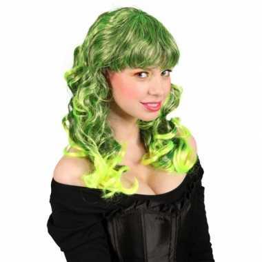 Lange groene damespruik carnaval