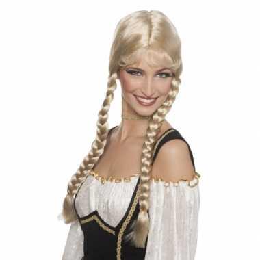 Lange Heidi pruik blond haar carnaval