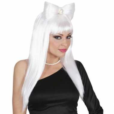 Lange witte damespruik strik carnaval