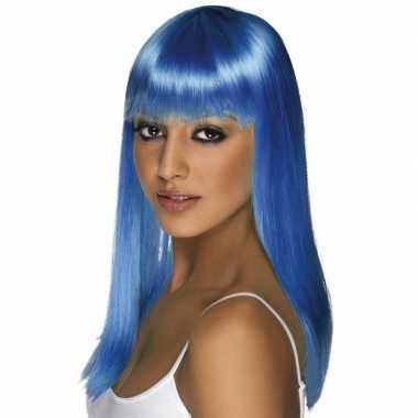 Neon blauwe dames pruik carnaval