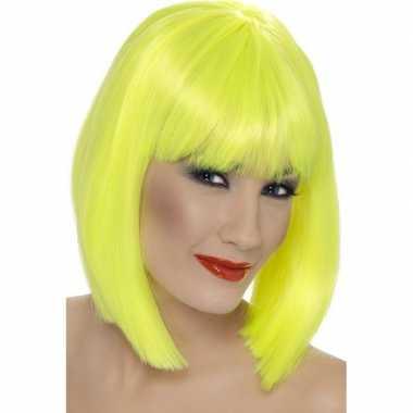 Neon gele korte pruik pony dames carnaval