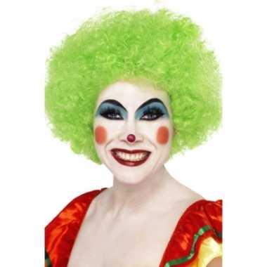 Neon groen clown pruik carnaval