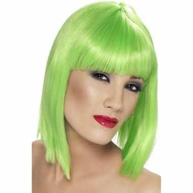 Neon groene korte pruik pony dames carnaval