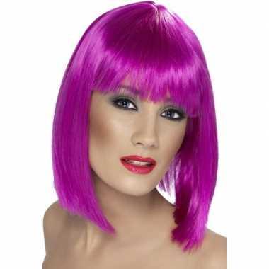 Neon paarse korte pruik pony dames carnaval