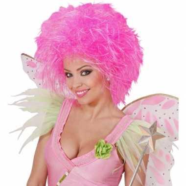 Neon roze dames pruik kort haar carnaval