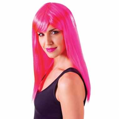 Neon roze damespruik Passion carnaval
