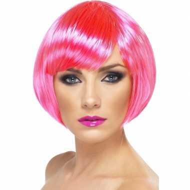 Neon roze korte dames pruik boblijn carnaval