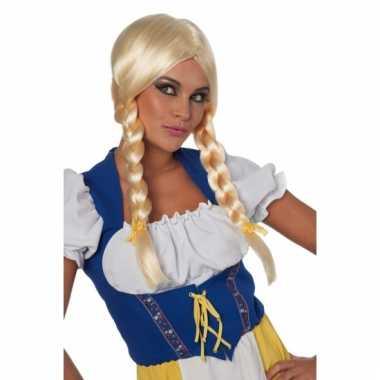 Oktoberfest pruik blond vlechten carnaval
