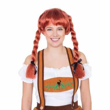 Oktoberfest pruik rood vlechtjes dames carnaval