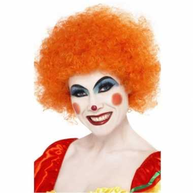 Oranje afro pruiken carnaval