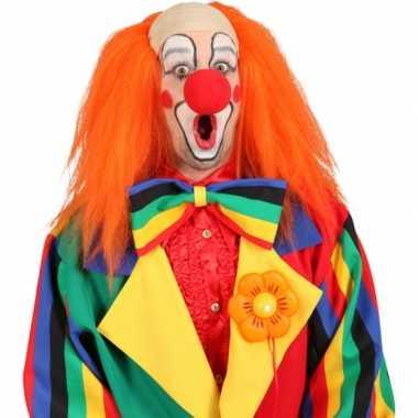 Oranje clown pruik carnaval