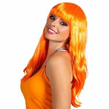 Oranje/holland fan artikelen damespruik lang haar carnaval