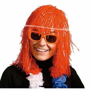 Oranje lurex pruiken carnaval