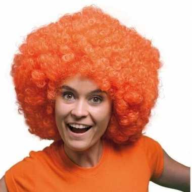 Oranje pruiken mega afro carnaval