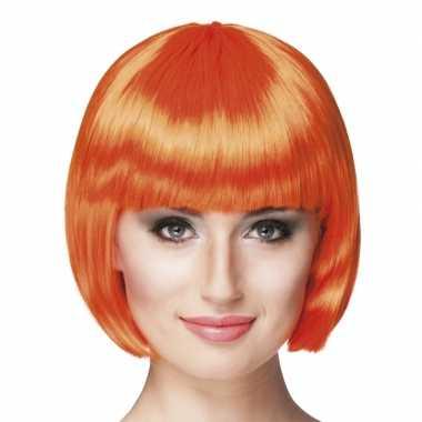 Oranje sexy damespruik carnaval