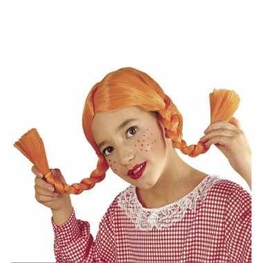 Oranje sterk Zweeds meisje pruik kinderen carnaval