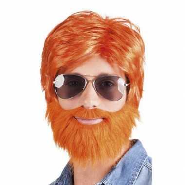 Oranje verkleed pruik baard snor carnaval