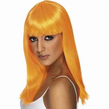 Oranje vrouwen pruik lang haar carnaval