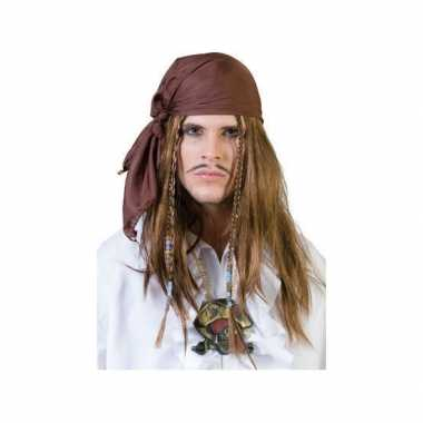 Piraat bandana pruik carnaval