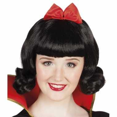Prinses pruik zwart strik carnaval