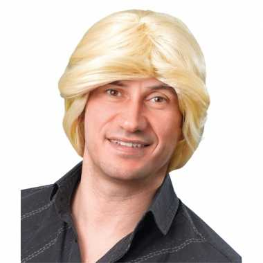Pruik heren blond halflang haar carnaval