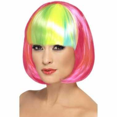 Pruik neon roze bob regenboog pony carnaval