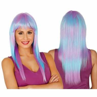 Pruik pony dames paars blauw carnaval