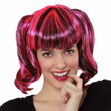 Pruik zwart roze haar carnaval