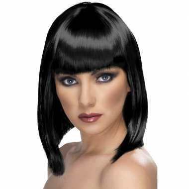 Pruik zwart schouderlang haar carnaval