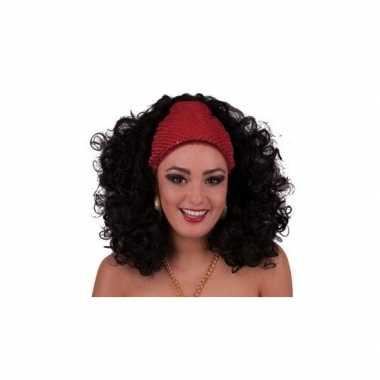 Pruik zwarte krullen hoofdband carnaval