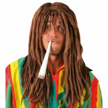 Rasta herenpruik bruine dreadlocks carnaval