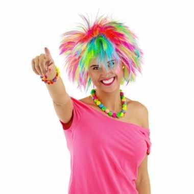 Regenboog rock chick dames pruik carnaval