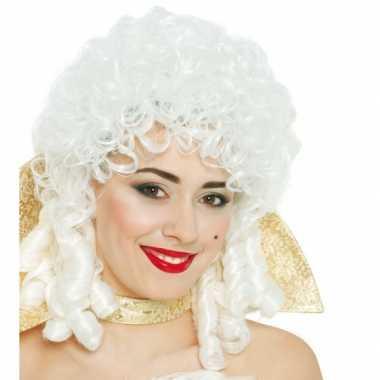 Renaissance vrouwen pruik wit carnaval