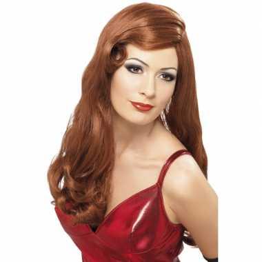 Rode dames pruik carnaval