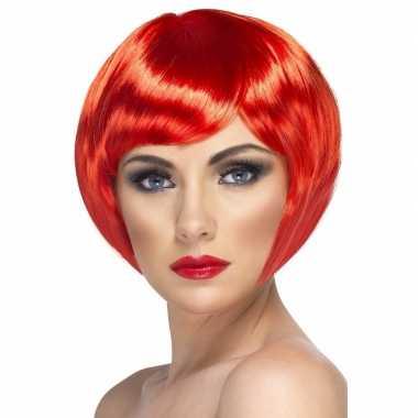 Rode korte dames pruik boblijn carnaval