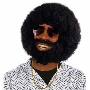 Ronde afro pruik, baard snor carnaval