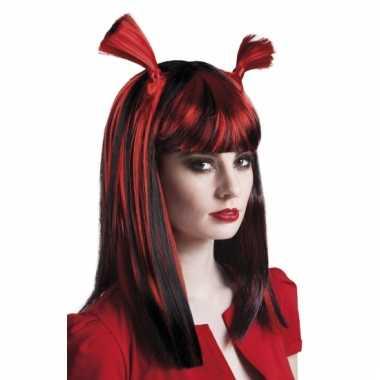 Rood zwarte vampier pruik carnaval
