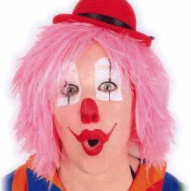 Roze clownspruiken kort haar carnaval