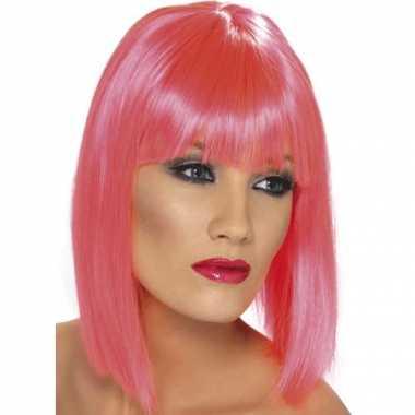 Roze dames pruiken kort stijl haar carnaval