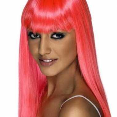 Roze feestpruik dames carnaval 10018293