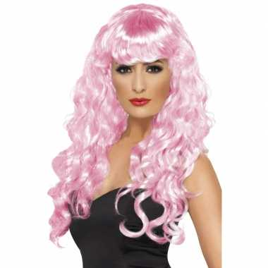 Roze feestpruik dames carnaval
