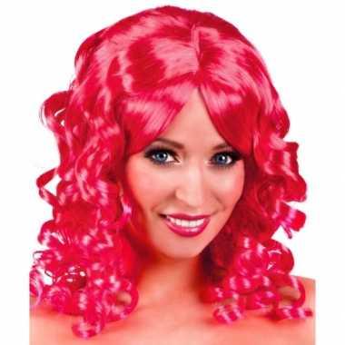 Roze glamour damespruik golvend haar carnaval