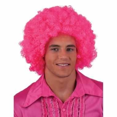 Roze hippie pruik afro carnaval