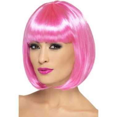 Roze pruik bob pony carnaval