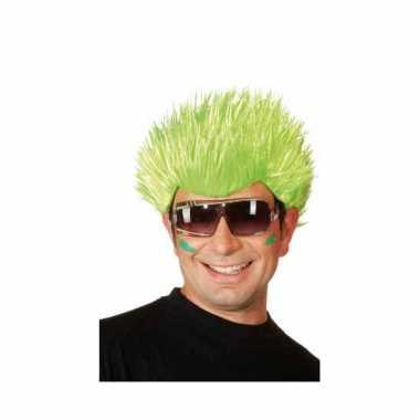 Spike pruik neon groen carnaval